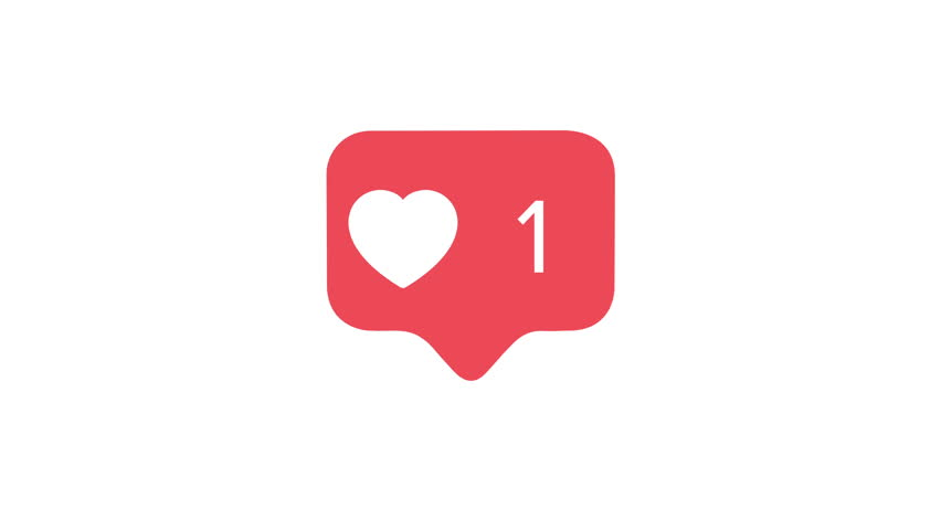 4K social media red heart counter, shows likes over time on a white background with alpha matte #1012392029