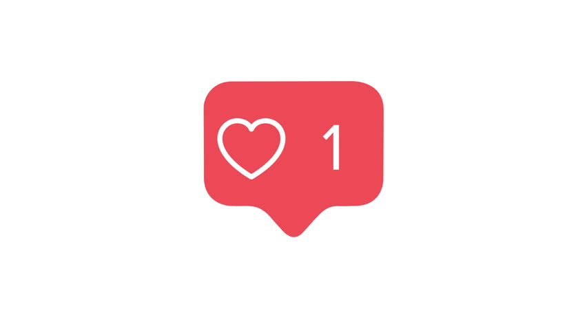 4K social media red heart counter, shows likes over time on a white background with alpha matte #1012392038
