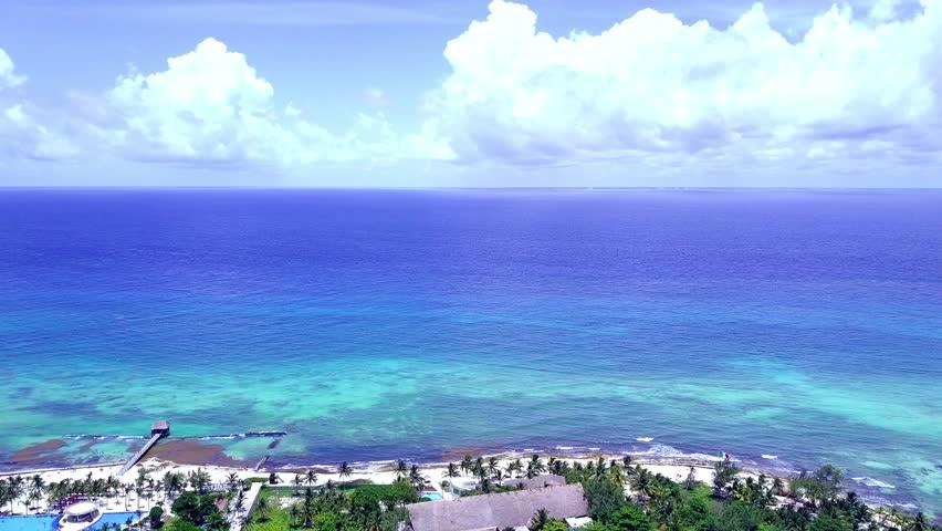 Cancun Drone Aerial Playa Del Carmen Mexico Beach View Caribbean Coast Quintana Roo Tropical Playa Trees Ocean Gulf of Mexico Tourism Vacation Tourist Destination Green Blue Water White Sand Tropics | Shutterstock HD Video #1012394003