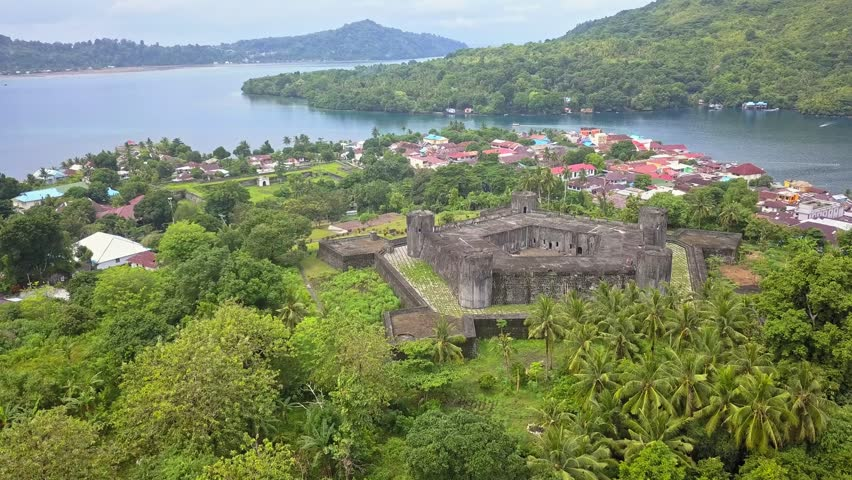 Flight over Banda Neira in Indonesia, with a pentagonal fort built by dutch during the spices war, Maluku archipelago, Indonesia