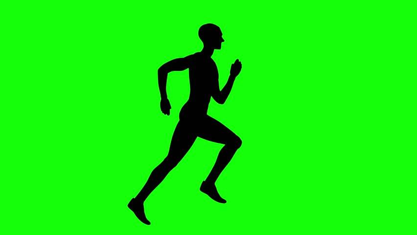 Man running sprint on green screen seamless loop 4k