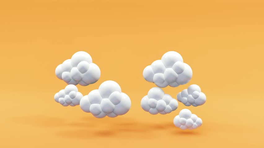 Clouds floating on orange background.-3d rendering. | Shutterstock HD Video #1012465658