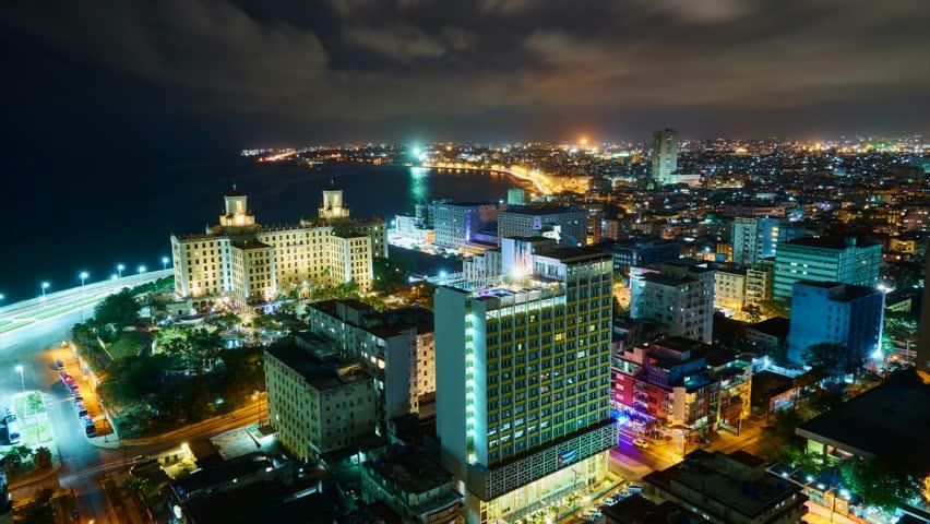 Havana night scene, timelapse