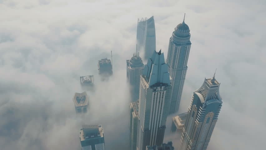 Dubai Marina in the fog. Aerial 4K video