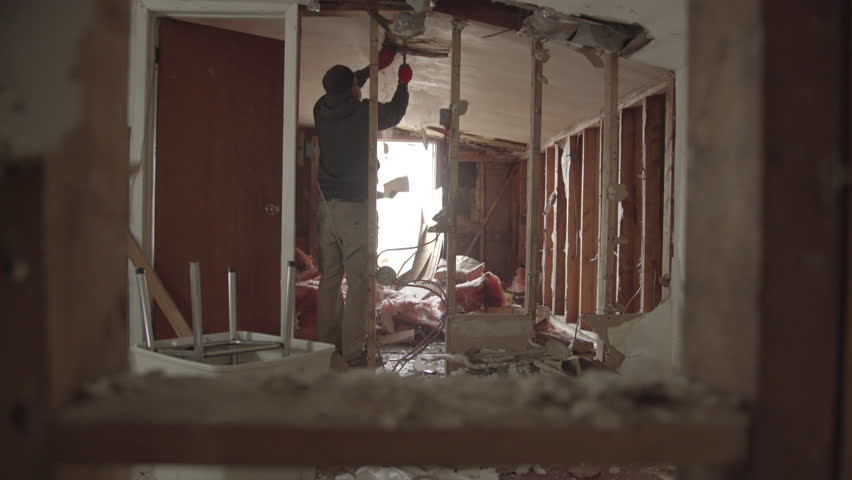 Interior House Demolition-  Tearing Open Ceiling #1012521068