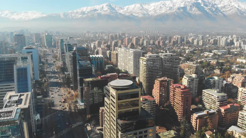 Cityscape of Santiago de Chile in 4K with the Andes Mountains in the background | Shutterstock HD Video #1012522475