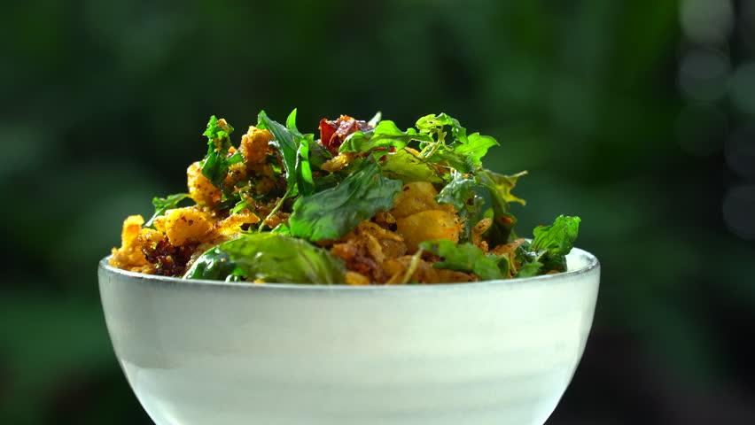 Thai tradition food : Crackling Chili paste, stirred with dry shrimps, chili, and spicy herb. Served with fried basil leafs. Still life in studio, Clean food good taste idea concept. Royalty-Free Stock Footage #1012534439