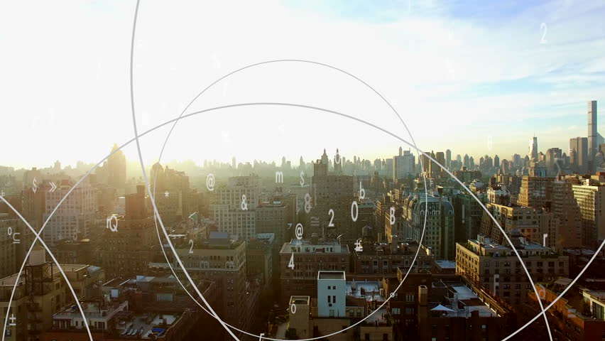 Big data stream animation with cityscape background | Shutterstock HD Video #1012544798