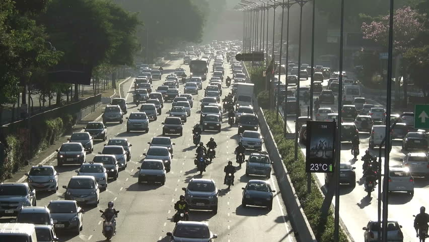 Sao Paulo, SP, Brazil, June 12, 2018. Traffic jam on 23 de Maio avenue, both directions, south of Sao Paulo,