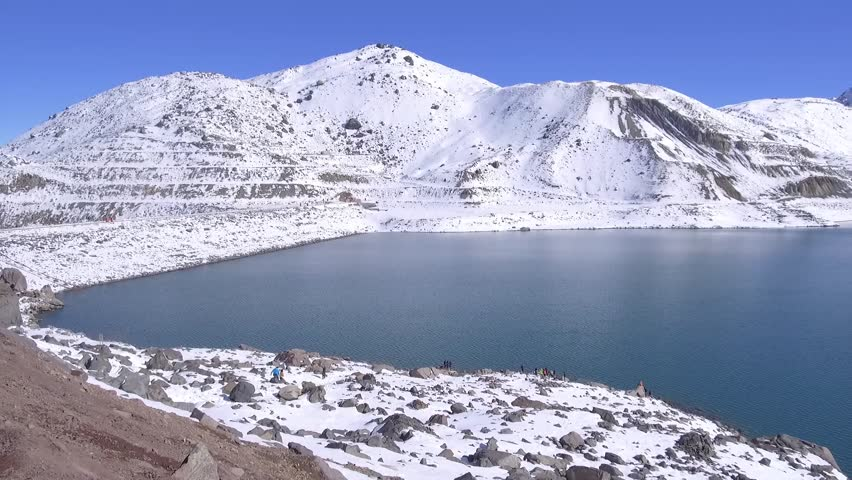 Landscape, lagoon and mountain snow in Santiago, Chile   Shutterstock HD Video #1012575716