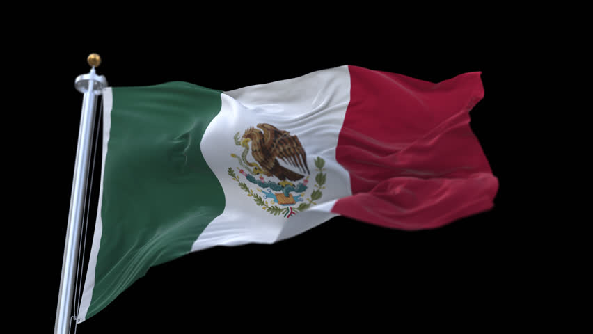 4k looping mexico flag with flagpole waving in wind.A fully digital rendering,The animation loops at 20 seconds.flag 3D animation with alpha channel included. cg_06215_4k