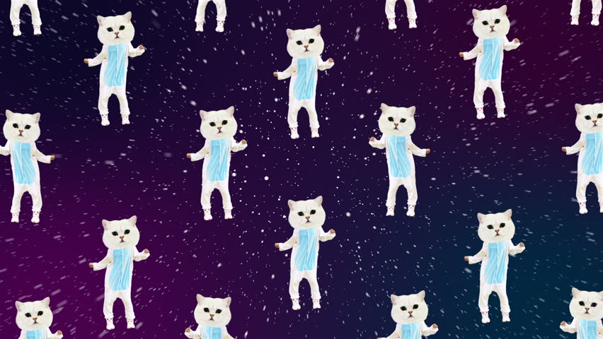 Minimal animation art. Cat dancing in space. Good vibes Party mood | Shutterstock HD Video #1012633685