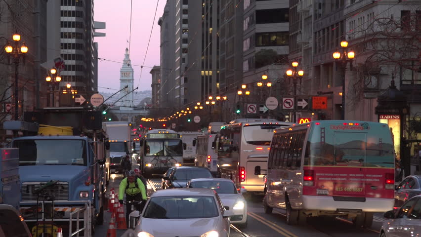 San Francisco, California / USA - February 21, 2013: A time lapse of busy evening traffic in San Francisco