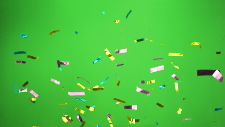 Confetti bomb in the colors cyan aqua, pink, yellow   with green screen Real Confetti  for party and celebrations  | Shutterstock HD Video #1012665686