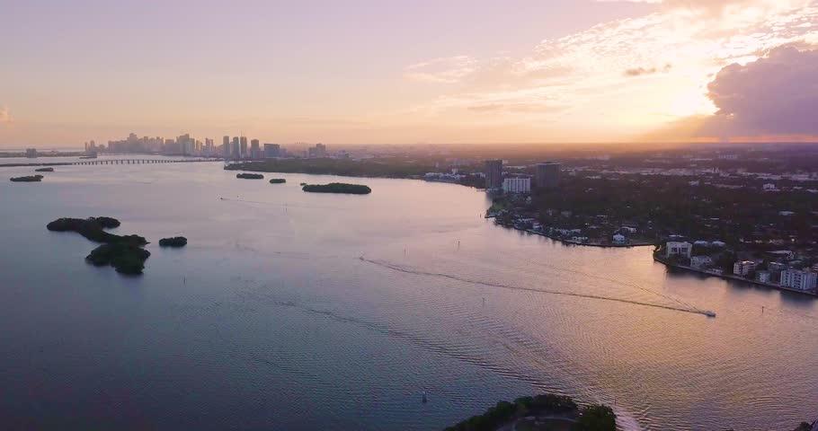 North Bay Village Drone Sunset Shot