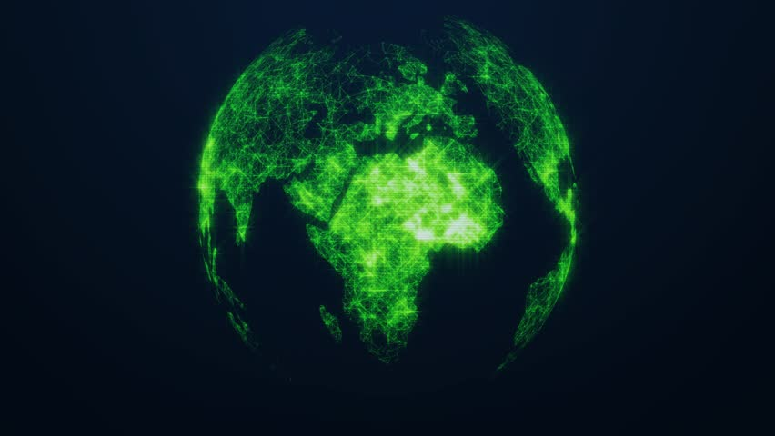 Planet Earth as a green glow hologram. Virtual digital planet Earth on dark background. 4K | Shutterstock HD Video #1012707098