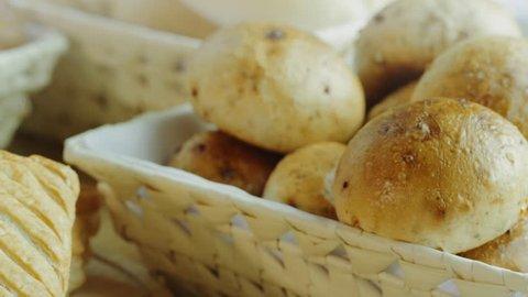 Fresh breakfast bakery goods. Buns, bread, bread rolls, loaves, sandwich and many others.