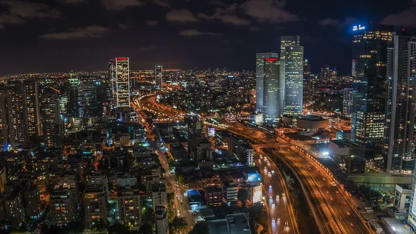 Tel aviv - 22.05.2017: Tel Aviv aerial skyline and Azrieli center hyper-lapse video 4k | Shutterstock HD Video #1012723103