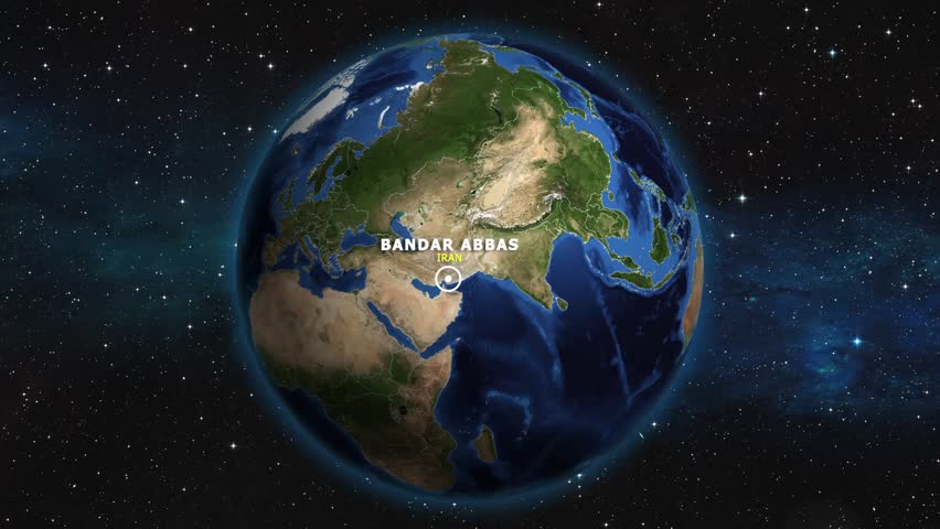 IRAN BANDAR ABBAS ZOOM IN FROM SPACE