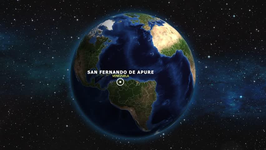 VENEZUELA SAN FERNANDO DE APURE ZOOM IN FROM SPACE | Shutterstock HD Video #1012726874