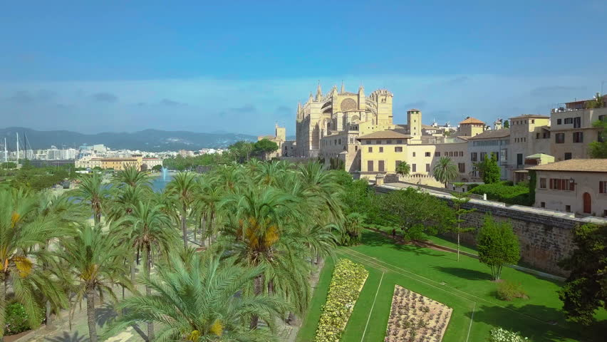 Aerial view of the promenade and the cathedral of Palma de Mallorca in Majorca