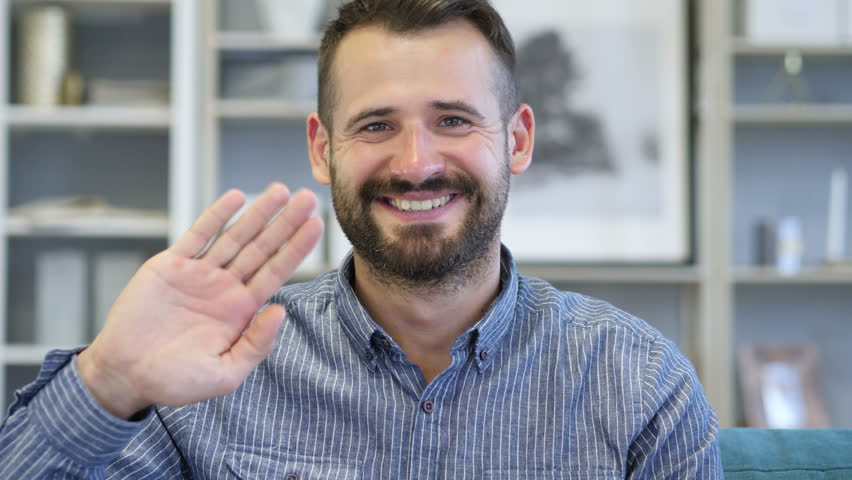 Hello, Adult Man Waving Hand to Welcome | Shutterstock HD Video #1012754402