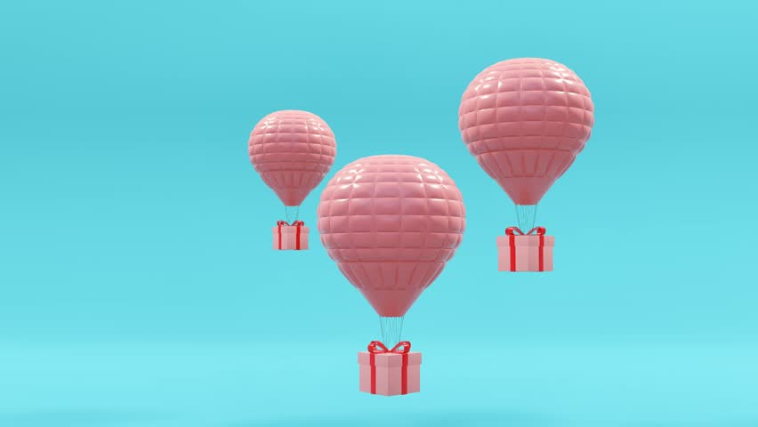 Balloons and gifts on a blue background.-3d rendering. | Shutterstock HD Video #1012769000