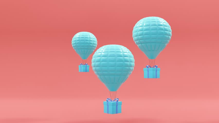 Balloons and gifts on a pink background.-3d rendering. | Shutterstock HD Video #1012769015