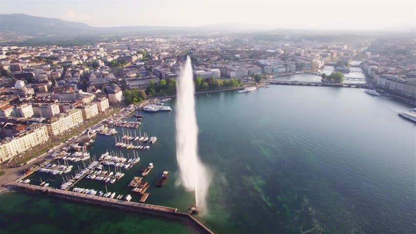 4K Aerial footage of Geneva city   water fountain in Switzerland -UHD