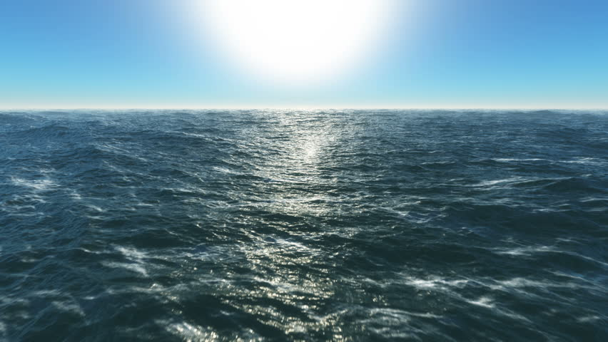 Ocean fly over,4k high speed animation just above the ocean waves facing the sun . 3d rendering #1012778426
