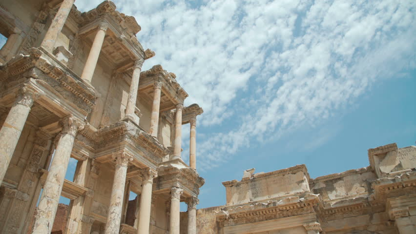 Celsus Library in Ephesus (Efes) - ancient Greek city in present day Izmir, Turkey. 4k
