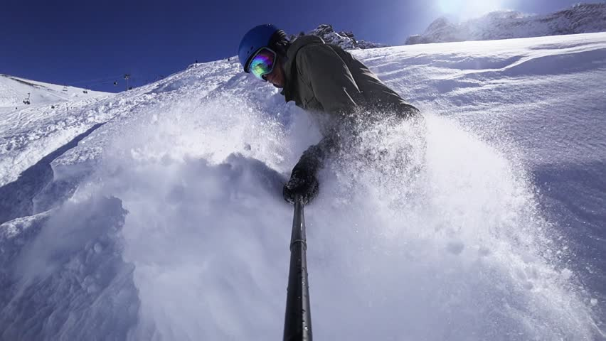 Deep - Deep - Powder Snow! Huge Snow Waves Were Made By Snowboarder At The End Of Video Footage. Snowboard, Mountain Whistler Canada | Shutterstock HD Video #1012802528