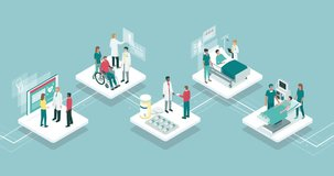 Medicine, healthcare and technology infographic: patients and doctors on app buttons
