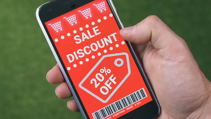 Swiping trough many discount coupons to save money on a smartphone device. Royalty-Free Stock Footage #1012812128