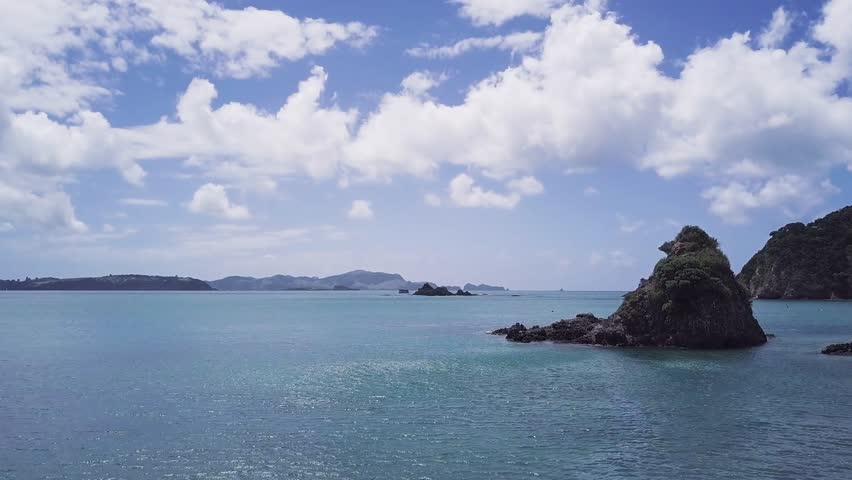 Beautiful ocean at bay of islands, at paihia beach. | Shutterstock HD Video #1012829135