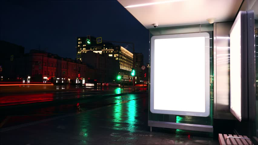 Night bus station with billboard. White blank screen.