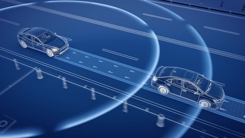 Autonomous self driving electric car change the lane and overtakes city vehicle
