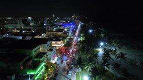 Drone footage South Beach Ocean Drive night neon