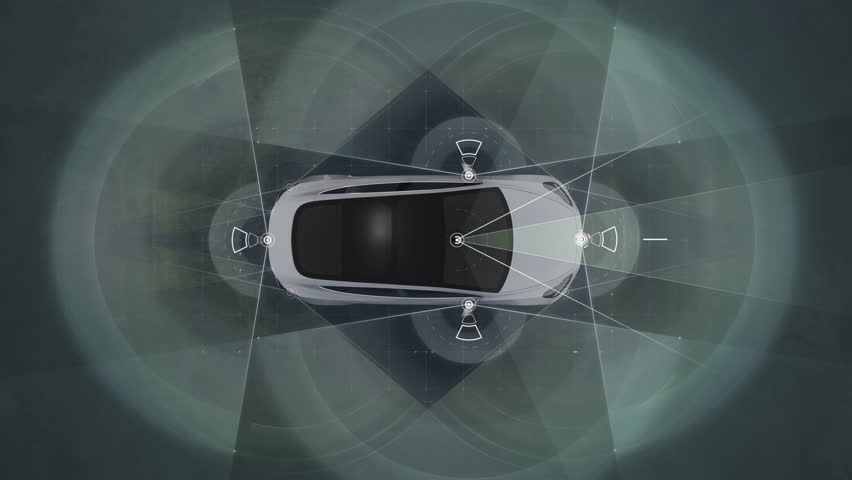 Self driving Autopilot car technologies, radar, 360 render, gps, sensor, cameras, ai, laser, 4K