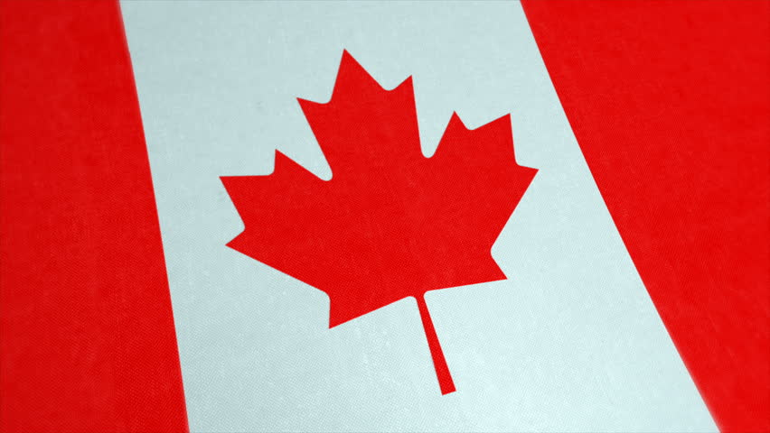 Stockfootage of National Flag of Canada - Animated Canadian Country Flag - Windy Flag Motion Background