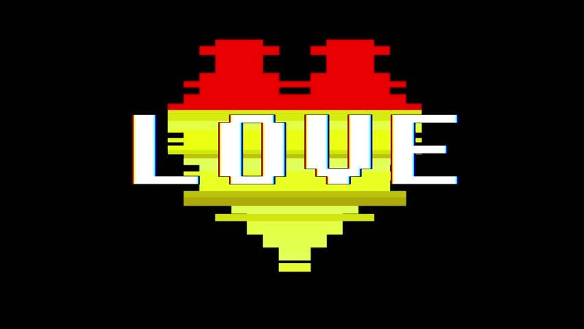pixel heart LOVE word text glitch interference screen seamless loop animation background new dynamic retro vintage joyful colorful video footage #1012879223