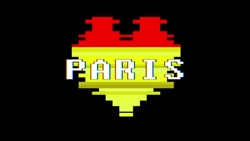 Pixel heart PARIS word text glitch interference screen seamless loop animation background new dynamic retro vintage joyful colorful video footage | Shutterstock HD Video #1012882154
