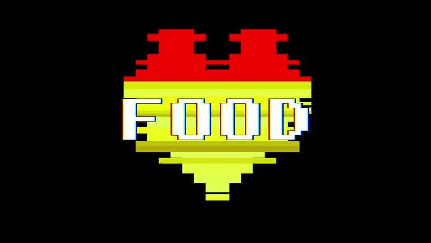 Pixel heart FOOD word text glitch interference screen seamless loop animation background new dynamic retro vintage joyful colorful video footage | Shutterstock HD Video #1012882253