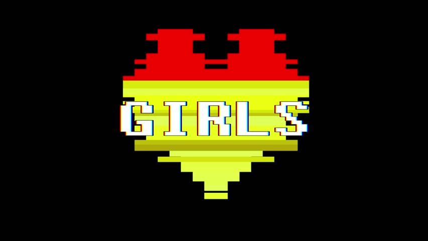 Pixel heart GIRLS word text glitch interference screen seamless loop animation background new dynamic retro vintage joyful colorful video footage | Shutterstock HD Video #1012882277