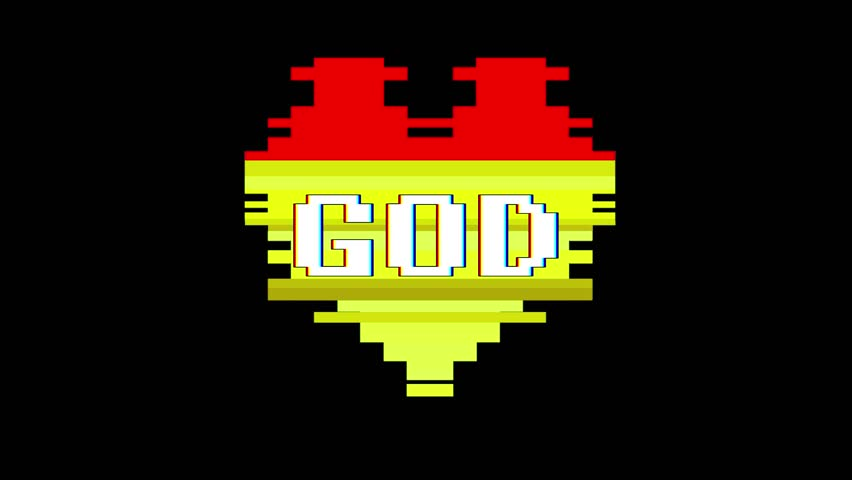 Pixel heart GOD word text glitch interference screen seamless loop animation background new dynamic retro vintage joyful colorful video footage | Shutterstock HD Video #1012882313