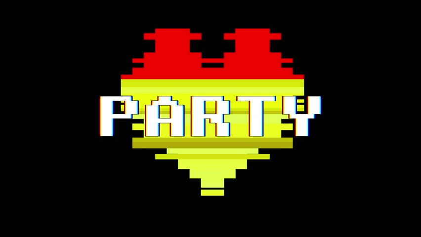 Pixel heart PARTY word text glitch interference screen seamless loop animation background new dynamic retro vintage joyful colorful video footage | Shutterstock HD Video #1012882340