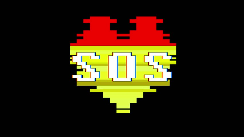 pixel heart SOS word text glitch interference screen seamless loop animation background new dynamic retro vintage joyful colorful video footage #1012882466
