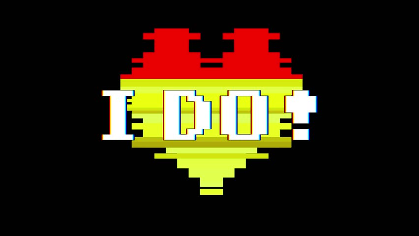pixel heart I DO word text glitch interference screen seamless loop animation background new dynamic retro vintage joyful colorful video footage #1012882565