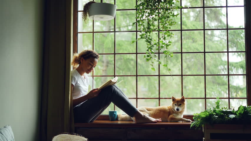 Attractive girl in casual clothes is reading book sitting on window sill barefoot near adorable pet dog lying near her owner. Home, hobby and animals concept. #1012914671