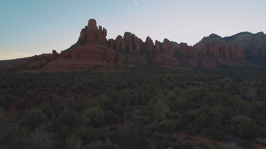 Sunrise Sedona Arizona Aerial Drone Red Rock Buttes Canyons National Parks Forest Land Desert Epic Landscapes | Shutterstock HD Video #1012942475